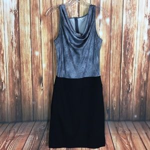 Calvin Klein Gray Snakeskin Cowl Neck Sheath Dress